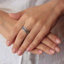 Серебряное кольцо Пандора с фианитами и чернением
