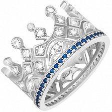 Серебряное кольцо Чувство власти с белыми и синими фианитами