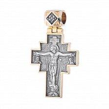 Серебряный крест с чернением и позолотой Иисус Христос