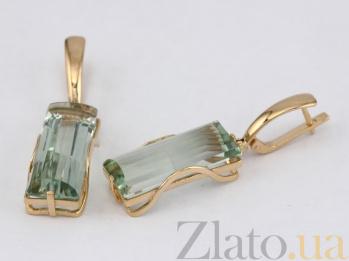 Серьги из красного золота с зеленым аметистом Хищница VLN--113-1267-5