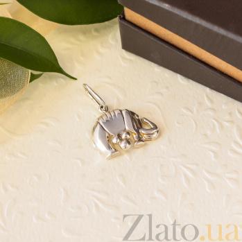 Серебряный родированный кулон Слон с накидкой 000079085