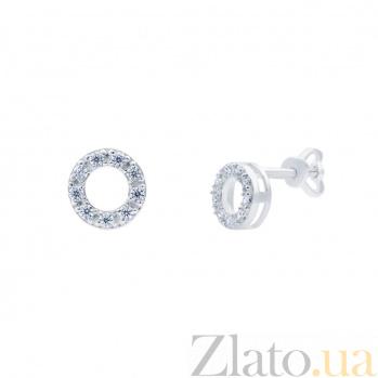 Серебряные серьги гвоздики Октава AQA--72231б