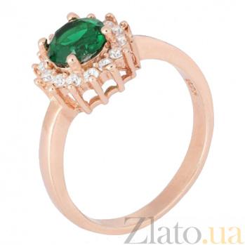 Позолоченное серебряное кольцо с зеленым цирконием Джаухар 000028437