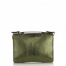 Кожаный клатч Genuine Leather 1606 зеленого цвета под кожу рептилии с короткой ручкой