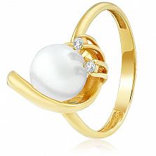Золотое кольцо с жемчугом и цирконием Клодина