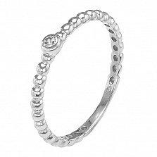 Серебряное фаланговое кольцо Загадка с фианитом