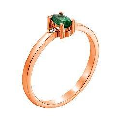Кольцо из красного золота с изумрудом и бриллиантами 000124434