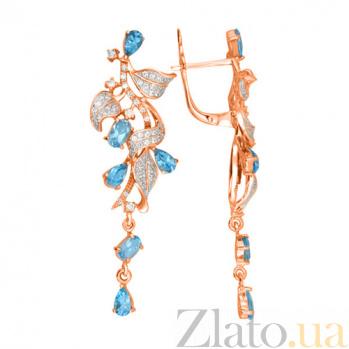 Серьги Орнелла в красном золоте с голубыми цирконами VLT--ТТТ2451-3