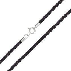 Хлопковый плетеный шнурок с серебряной застежкой 000039470