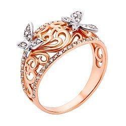 Золотое кольцо Превращение с бабочками, узорной шинкой с фианитами