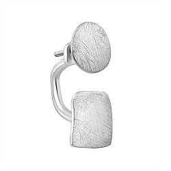 Серебряная серьга-джекет Джаз с эффектом царапин