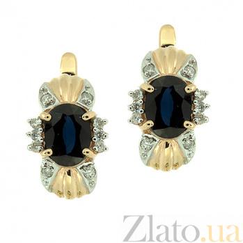 Золотые серьги с бриллиантами и сапфирами Флора ZMX--ES-6143_K