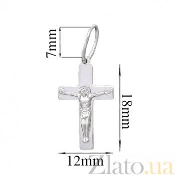 Крестик из серебра с родированием Спасение HUF--3501-Р