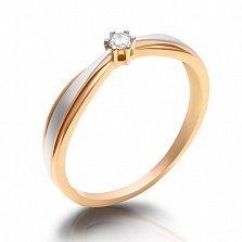Кольцо из комбинированного золота с бриллиантом Модерн