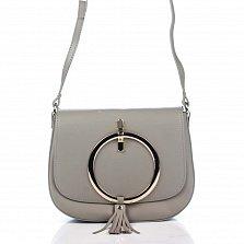 Кожаный клатч Genuine Leather 8621 цвета таупе с декоративным элементом и плечевым ремнем