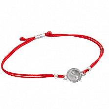 Красный шелковый браслет ИньЯнь с круглой серебряной вставкой