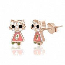 Серебрянный пуссеты Кошечки с фианитами, эмалью и позолотой
