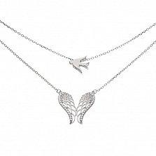 Серебряное многослойное колье Крылья свободы с фианитами