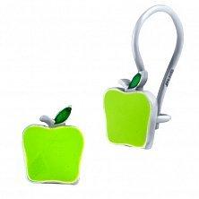 Серебряные серьги Яблочки с зеленой эмалью