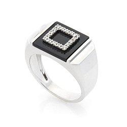 Перстень-печатка из белого золота Турин с бриллиантами и черным ониксом