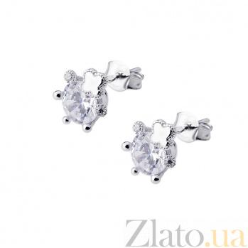 Серебряные серьги-пуссеты Дайна с цирконием в стиле Ван Клиф 000080186