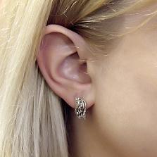 Серебряные серьги Совершенство с белым цирконием