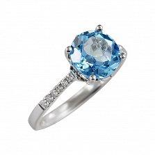 Кольцо из белого золота Берег океана с бриллиантами и топазом