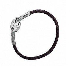 Кожаный браслет Змеиная мудрость с серебряными вставками и альпинитами