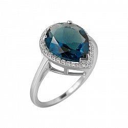 Серебряное кольцо Фаиза с синим синтезированным кварцем и фианитами