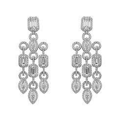 Серебряные серьги-подвески с дорожками и белыми фианитами 000099699
