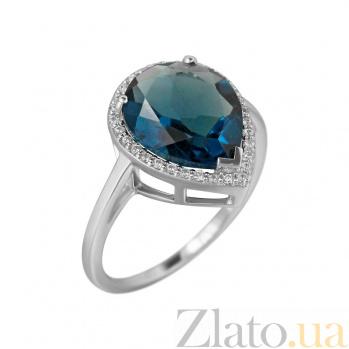 Серебряное кольцо Фаиза с синим синтезированным кварцем и фианитами 000081577