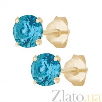 Серебряные cережки-пуссеты с голубым цирконием Эсселта SLX--С3ФТ1/603