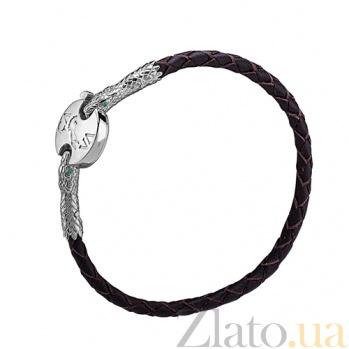 Кожаный браслет Змеиная мудрость с серебряными вставками и альпинитами 000027047