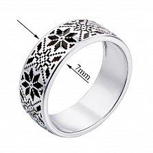 Серебряное кольцо Роксолана с орнаментом в стиле вышивки и черной эмалью