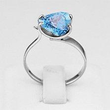 Золотое кольцо Сандра с голубым топазом в белом цвете