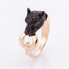 Золотое кольцо Сторожевая пантера в желтом цвете с фианитами в стиле Картье