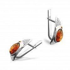 Серебряные серьги Джастина с золотыми накладками, янтарем и фианитами