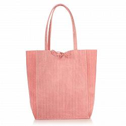 Кожаная сумка на каждый день Genuine Leather 8041 розового цвета на завязках