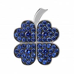 Серебряная брошь Удача в любви с синими фианитами 000072386