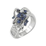 Золотое кольцо с сапфирами и бриллиантами Очарование