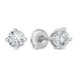 Серебряные серьги-пуссеты с цирконием SWAROVSKI 000039220