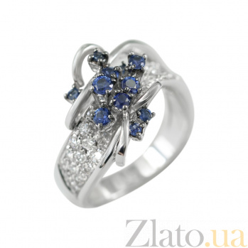 Золотое кольцо с сапфирами и бриллиантами Очарование 000026899