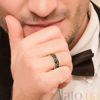 Золотое обручальное кольцо Рожденные для счастья с эмалью (мужское) PRT--WR0078