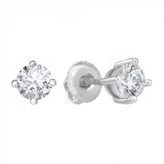 Серебряные серьги-пуссеты Флавия с цирконием SWAROVSKI ZIRCONIA 000039220