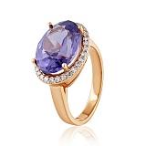 Золотое кольцо Мейнид с корундом александрита и фианитами