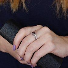 Серебряное кольцо Теолла с гранатом и фианитами