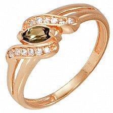 Золотое кольцо Офелия с раухтопазом и фианитами