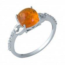Серебряное кольцо Камиля с янтарем и инкрустацией фианитами на шинке