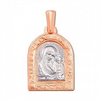 Золотая ладанка Святая Богородица в комбинированном цвете  000119551