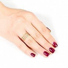 Золотое обручальное кольцо трехсекционное Обещание
